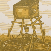 "Luke Ball; FIll, 2014; Linocut; Paper size: 355 x 280 mm; from, ""Trash: A Printmaking Portfolio Exchange"""