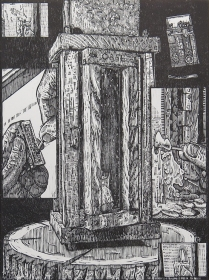 "Adam Case Leestma; Lantern II, 2014; Woodcut; paper size: 381 x 280 mm; from, ""Revival: Print Exchange"""