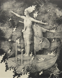 "Kathryn Polk,; Rocking the Boat, 2014 Lithograph; Paper size: 357 x 281; from the portfolio, ""Body of Christ"""
