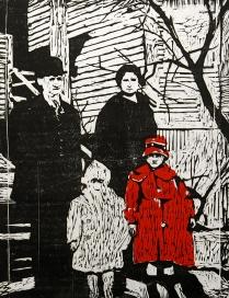 Ancestors, 1965; Woodcut; Object size: 753 x 612 mm