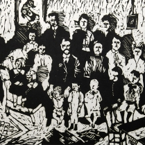 Family Group, 1965; Woodcut; Object size: 600 x 457 mm