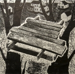 Homemade Treehouse, 2002; Woodcut; Object size: 961 x 963 mm