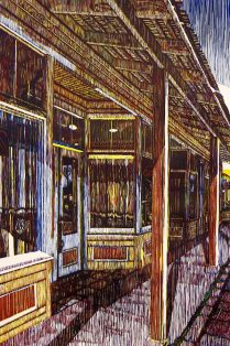 Pflugerville Storefronts, 2015; Woodcut; Image: 904x606 mm