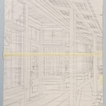 Pflugerville Storefronts, 2015; Graphite and tape on paper; Image: 904x606 mm