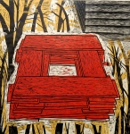 Stack (yellow), 2004;  CTP; Woodcut;  Image size: 962 x 967 mm