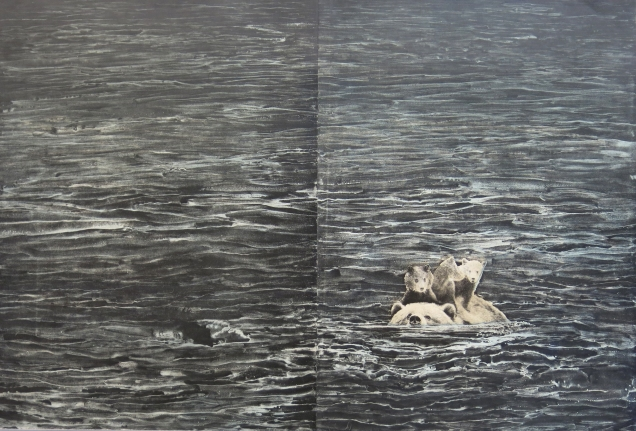 Swimming, 2016; Photogravure, white ground aquatint; Image size: 595 x 595