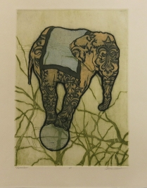 Precarious, 2012; Etching, relief roll; Image size: 274 x 197