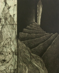 Erosion, 2010; Etching, relief roll; Image size: 349 x 282