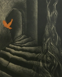 Return Journey, 2010; Etching, copper leaf; Image size: 352 x 282