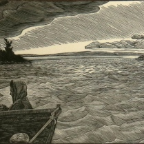 Siri Beckman (born 1942); Approaching Storm, 1996; Wood engraving on paper; Gift of the Texas Tech University School of Art