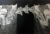 Brian Paulsen (born 1941); Bridging Buildings II, 1998; Drypoint on paper; Gift of the Texas Tech University School of Art