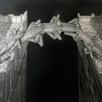 Brian Paulsen (born 1941); Bridging Buildings II, 1998; Drypoint on paper; Gift of the Texas Tech University School of Art