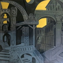 Clare Romano and John Ross (born 1921 and 1922); Dawn Passages, circa 1998; Collograph on paper; Gift of the Texas Tech University School of Art