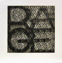 Rage, 1996; Etching with collaged black lace; Image size: 752 x 750 mm