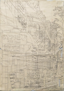 drawing for E 6th St, 2014; Graphite on paper; Image size: 909 x 597 mm