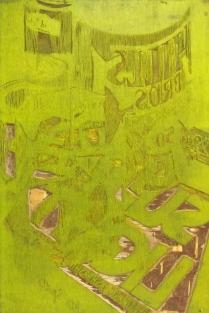 Sunlight Thru Glass, 2014; Woodcut matrix; Image size: 949 x 612