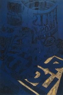 Sunlight Thru Glass, 2014; Woodcut matrix; Image size: 916 x 607