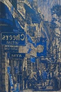 E 6th St, 2014; Woodcut matrix; Image size: 909 x 597 mm