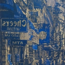 E 6th St, 2014; Woodcut matrix; Image size: 909 x 597 mm