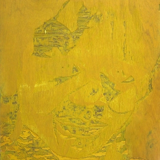Barret in Three Color, 1992; Woodcut matrix; Image size: 1016 x 608 mm