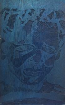 Barret in Three Color, 1992; Woodcut matrix; Image size: 1016 x 610 mm