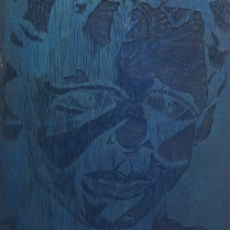 Barret in Three Color, 1992; Woodcut matrix; Image size: 1016 x 610 mm