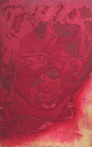 Barret in Three Color, 1992; Woodcut matrix; Image size: 964 x 610 mm