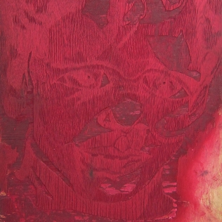 Barret in Three Color, 1992; Woodcut matrix; Image size: 964 x 610 mm
