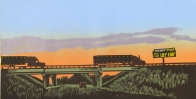 Truckin' at Sunset, 2005; woodcut; image: 230x480 mm