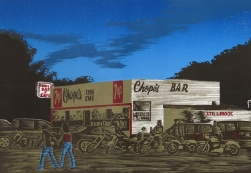 Saturday Nite at Chopes, 2007; woodcut; image: 250x480 mm