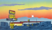 Truck Stop, 2008; woodcut; image: 265x456 mm