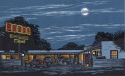 Moon Light Motel, 2010; woodcut; image: 280x450 mm