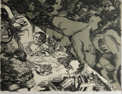 Robert Colescott; Fried Chicken & Fantasy, 1990; lithograph (480x633mm)