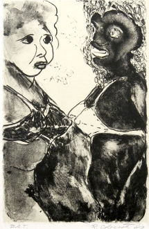 Robert Colescott; Some Thoughts on Interracial Sex, 1989; Lithograph, chine collé (243x160mm)