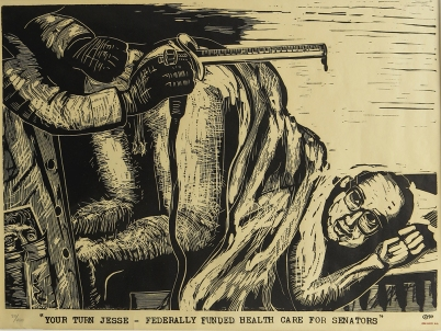 Eric Avery; Your Turn Jesse - Federally Funded Health Care for Senators, 1990; linocut (343x466mm)