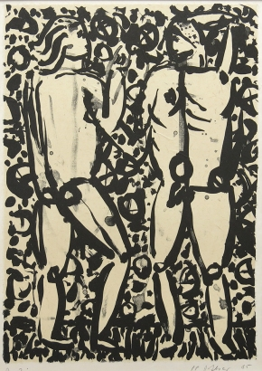 Joseph Glasco; Two Figures; lithograph, chine collé (359x252mm)