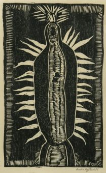 Virgin de Guadalupe, 2017; woodcut on Kitakata paper