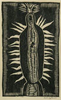Virgin de Guadalupe, 2017; woodcut on Kitakata paper
