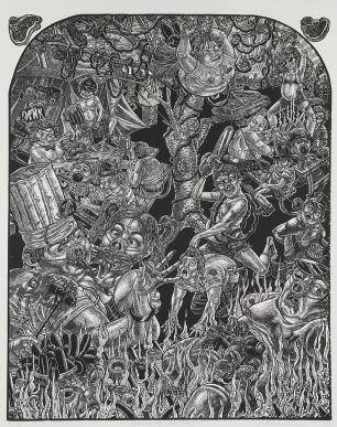 Tom Huck, Pork Chop Suey, Part II OINKTOBERFEST 2007; woodcut(211x987 mm)