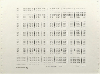 Up and Down with a Stick, 1969; impact printer ink on paper (219x264mm)
