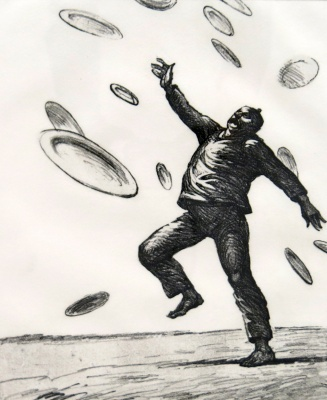 Robert Levers, Terrorist Juggling Plates, 1990; etching, soft ground