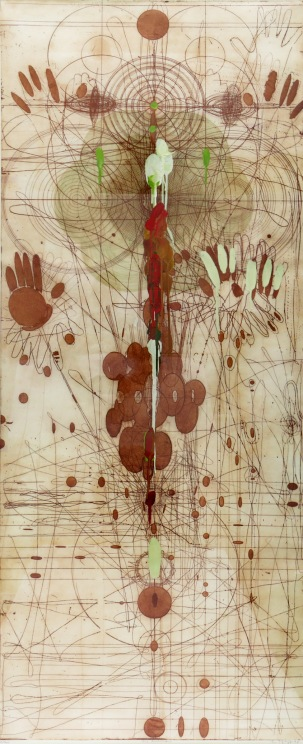 Judy Pfaff, The Mirror, 1998; etching, surface roll, encaustic, dye (72x32 inches)