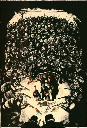 Sue Coe, The Unspeakable Pursuing the Uneatable, 1994; lithograph (1130x762mm)