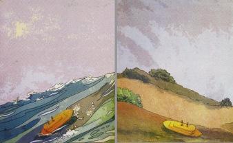 Adrift, Aground, 2008; screen print, diptych (555x998 mm)
