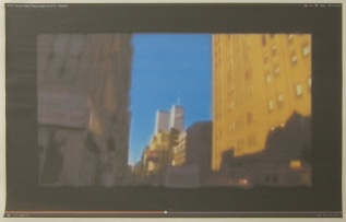 Andrew Super; screenshot of a video of the World Trade Center attack, 2013; inkjet