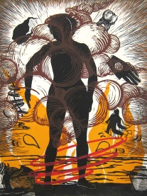 Judy Youngblood; Crossing Over #2, 1991; linocut (650x486 mm)