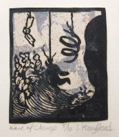Judy Youngblood; Wave of Change, 1994; linocut, metal leaf (95x82 mm)