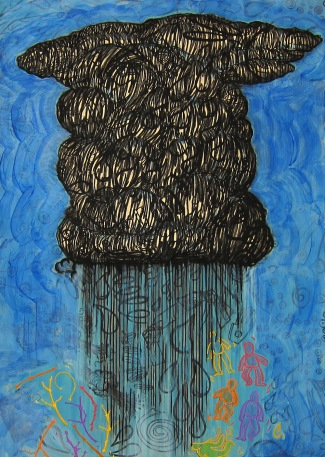 Judy Youngblood; Squall, 2000; linocut, charcoal, colored chalk, graphite, acrylic (995x699 mm)