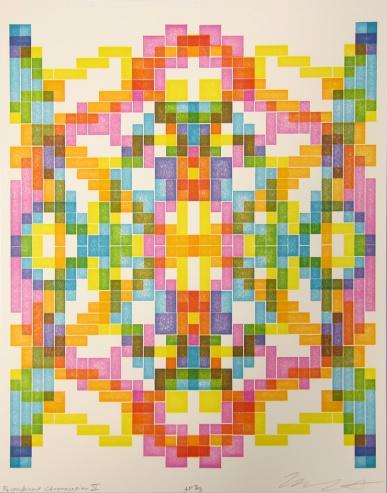 Michael Sonnichsen; Recombinant Chromosapien II, 2018; Lego letterpress relief (320x264 mm)