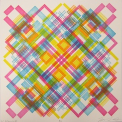 Michael Sonnichsen; Test Pattern 2.4 II, 2018; Lego letterpress relief (349x349 mm)